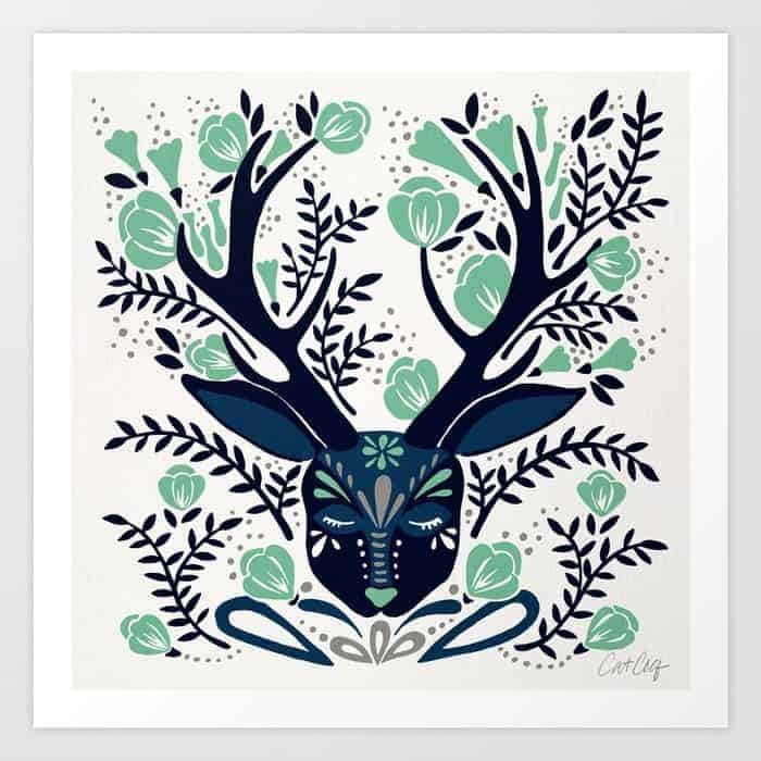 floral antlers print from Cat Coq
