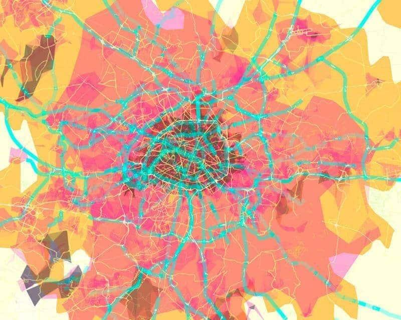 Map art of Paris - Prettymaps