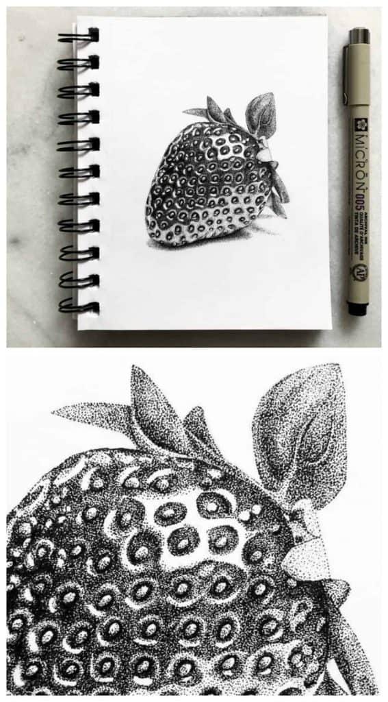Ase Balko pointillism strawberry drawing