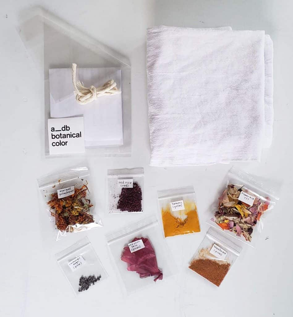 supplies for bundle dying, including natural dyestuff, pretreated