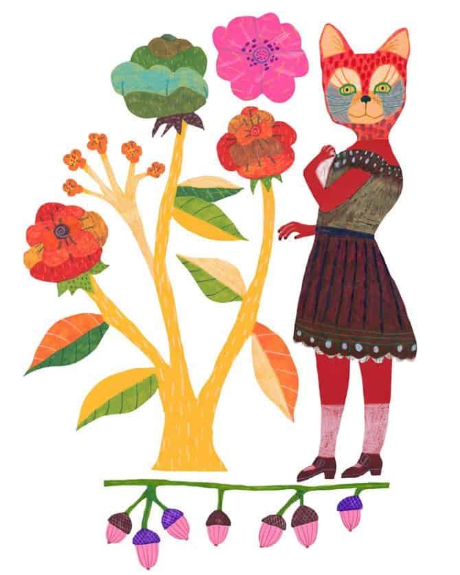 Monika Forsberg art - cat flowers