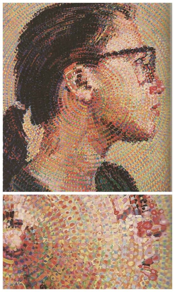 Chuck Close's portrait of Cindy Sherman 1988 and close up showing paint shapes influenced by pointillism