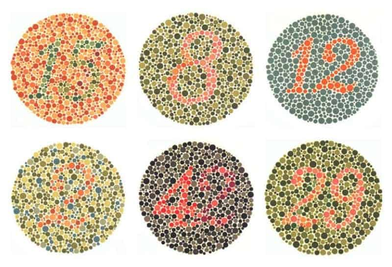 Color blindness test circles