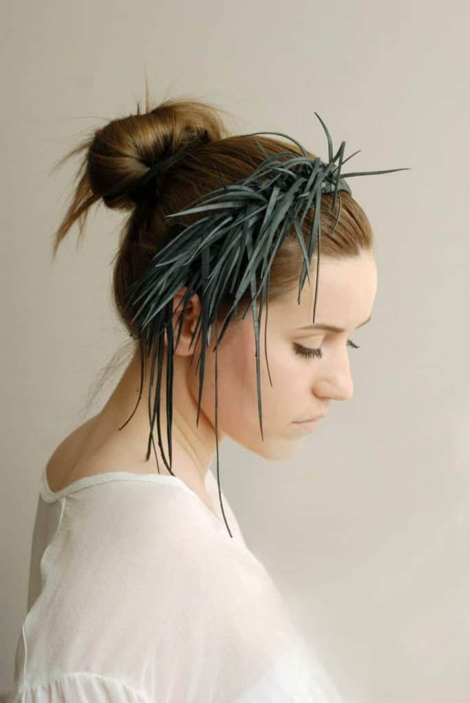 Handmade rubber tiara on woman by Raw Design Atelier on Etsy