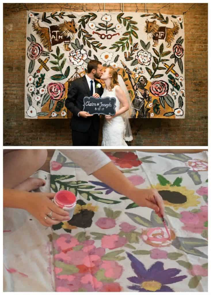 hand painted photo backdrops with flowers and leaves on canvas - by The Small Creative on Etsy