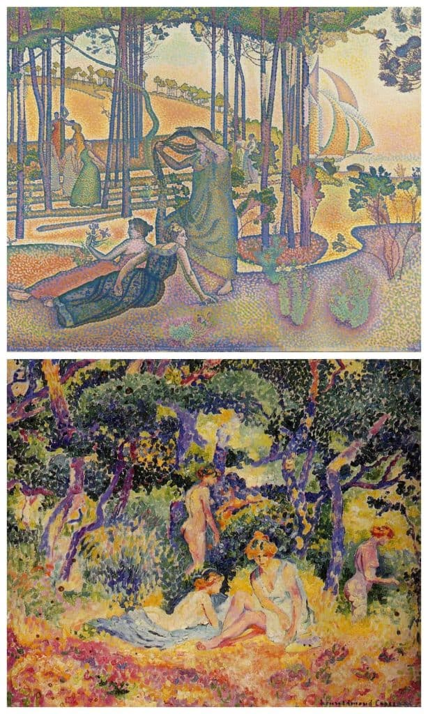 Henri Edmond Cross paintings showing his evolution in pointillism