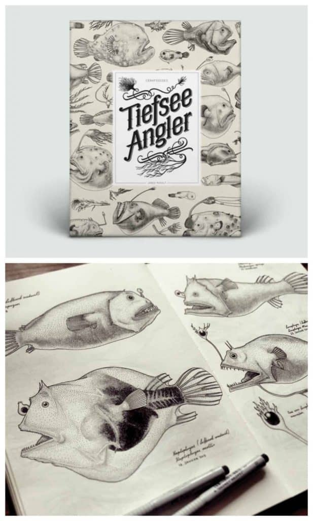 Jared Muralt illustrations - beautiful book about angler fish with all of the species illustrated in pointillism.