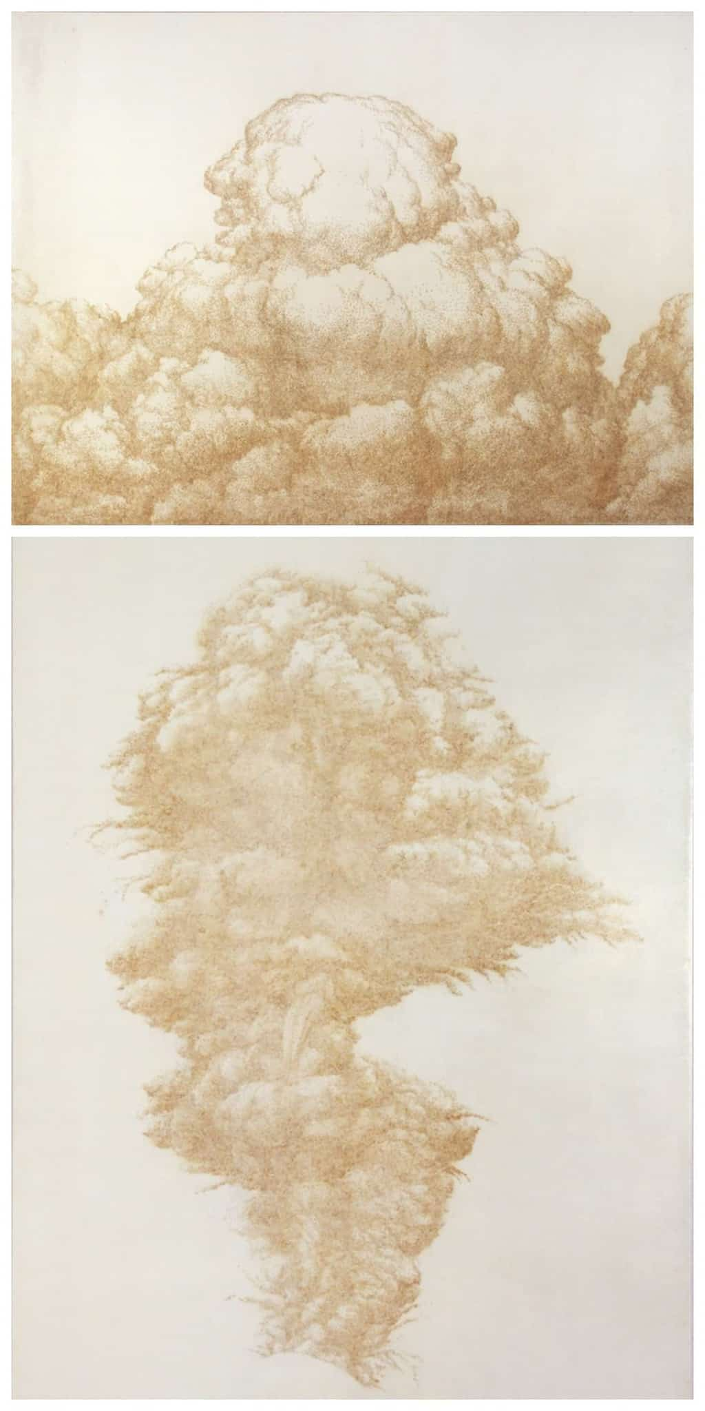 Art by jihyun park - reverse pointillism by burning holes into paper