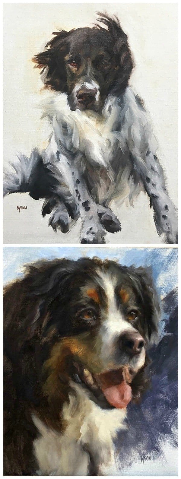 Dog portraits by Johanne Mangi - 5 amazing pet artists featured on Art Makes People