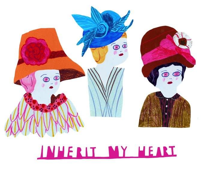 monika forsberg art ladies with hats