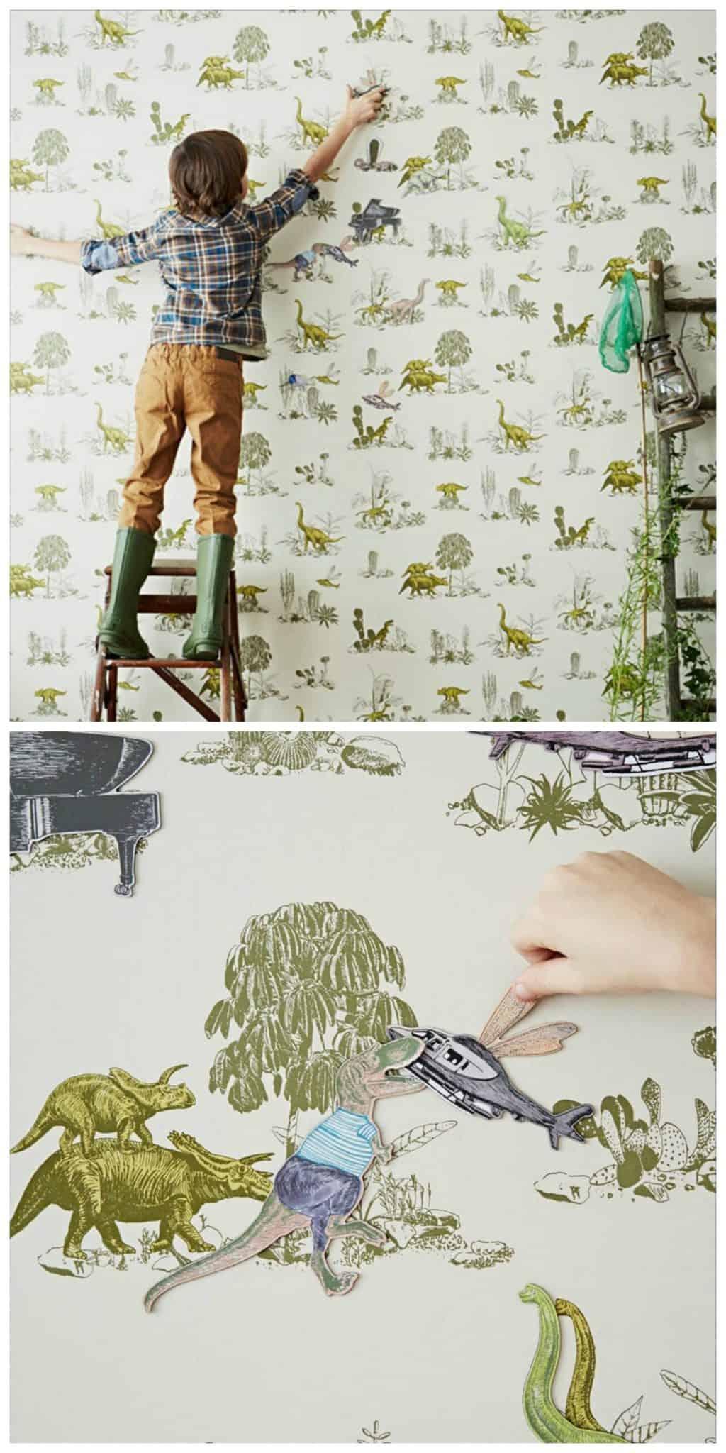 Dinosaur magnetic wallpaper for kids rooms