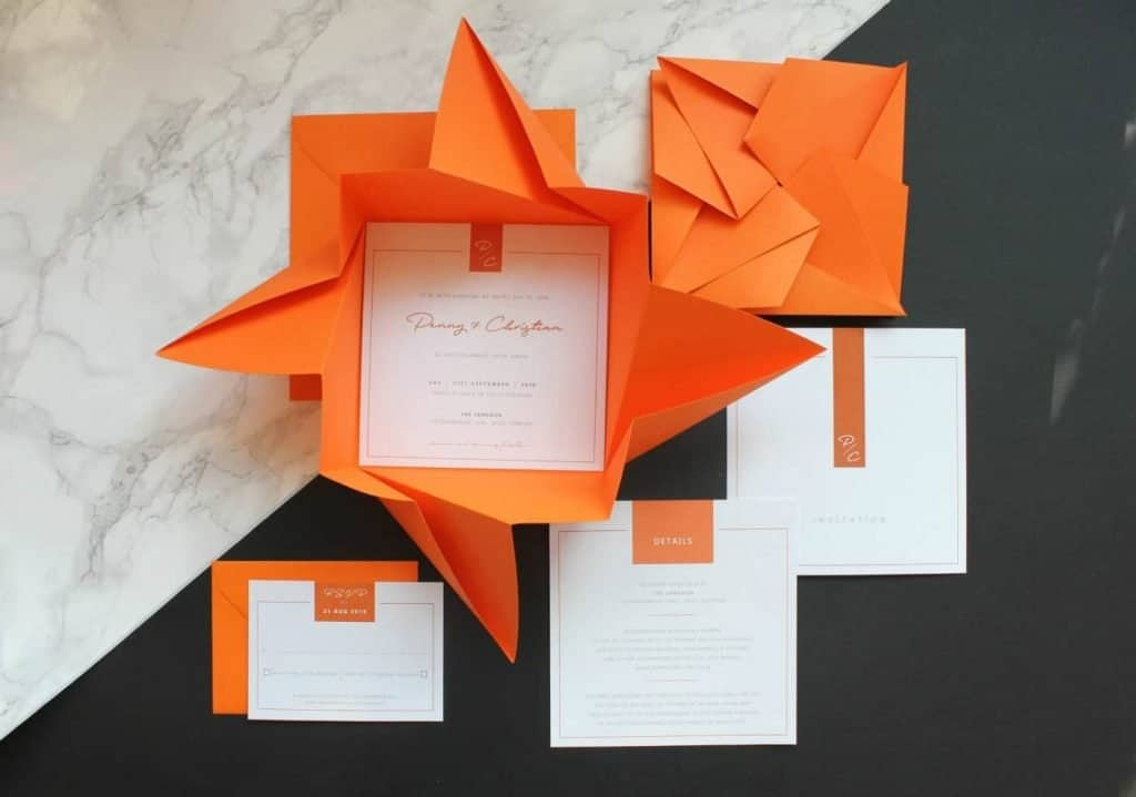 origami wedding invites and envelopes