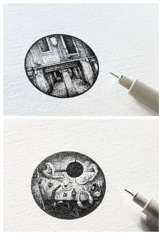 Aridz1 pointillism drawings