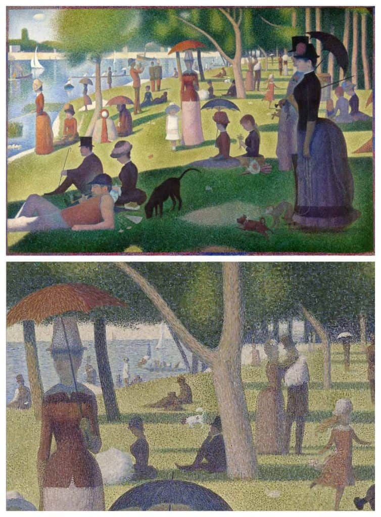 Georges Seurat - A Sunday on The Isle of Grande Jatte with closeup showing the pointillism paint brush marks.