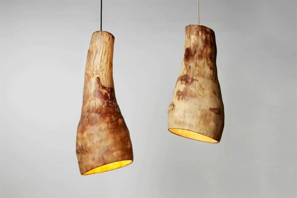 handmade hanging wood lights by DeLaPalma