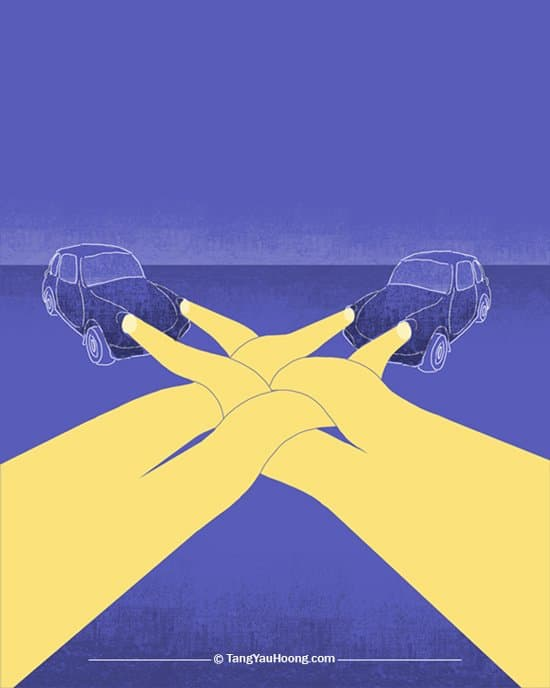 Tang Yau Hoong illustration - cars with angled headlight beams